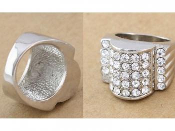 Масивен дамски пръстен сребрист