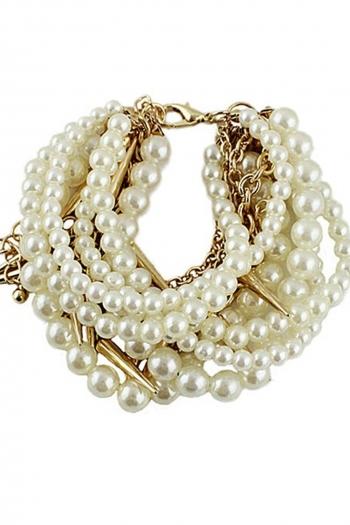 Гривна с бели перли и метал