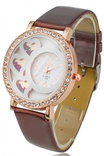 Дамски часовник със сърчица кафяв CHROME