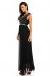 Дълга официална черна рокля със сребрист декор Maia Hemera