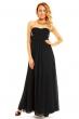 Дълга черна рокля без презрамки със златист декор Charm's