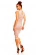 Дантелена рокля в блед бежовo-розов цвят ROSA