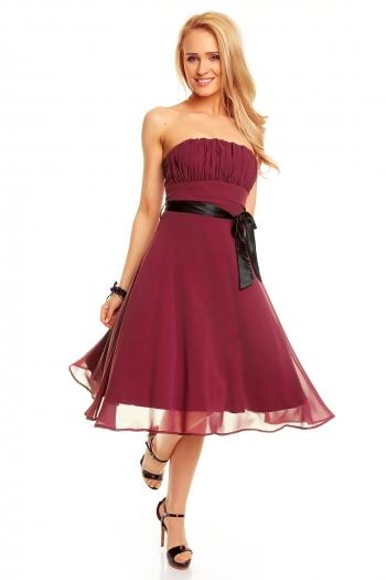 Разкроена рокля без ръкави Mayaadi - цвят бордо