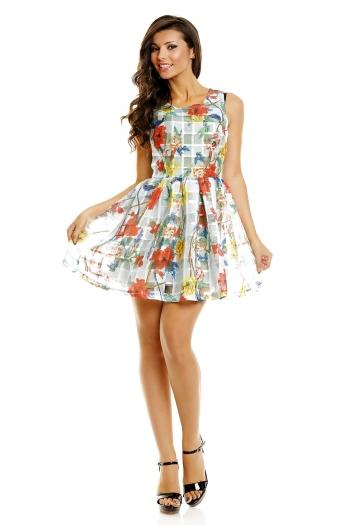 Цветна лятна рокля Classic ментов флорален принт