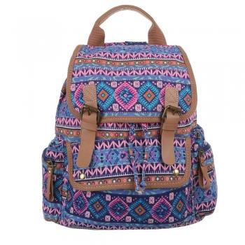 Чанта-раница с цветен принт - лилав