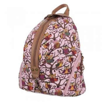 Чанта-раница - розов сова принт