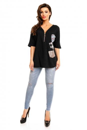 Декорирана памучна черна блуза Paris Et Moi