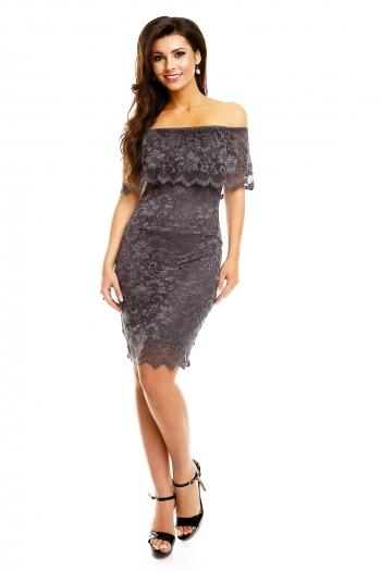 Mayaadi дантелена рокля в графитено сиво