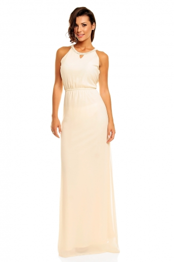 Дълга официална рокля в блед бежово-розов цвят Maia Hemera