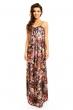 Дълга дамска рокля DZ - кафяв флорален принт