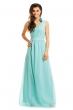Дълга рокля в цвят мента с декоративна бродерия Maia Hemera