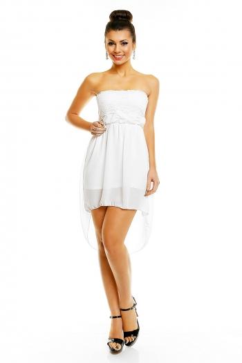 Нежна бяла рокля без презрамки Made in Italy