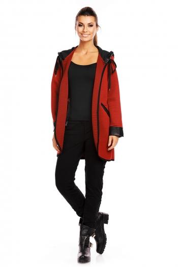 Есенно яке със свободна кройка G1 Moda в бордо и черно