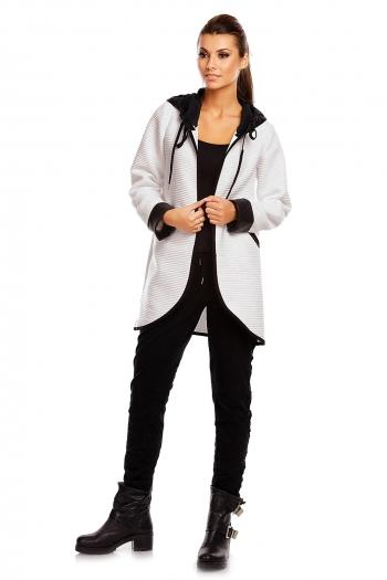 Есенно яке със свободна кройка G1 Moda в бяло и черно
