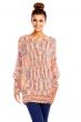 Топъл пуловер Pense A Toi в свежи жълто-розови цветове