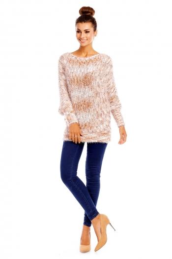 Топъл пуловер Pense A Toi в свежи кафяво-бели нюанси