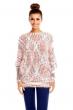 Топъл пуловер Pense A Toi в свежи червено-бели нюанси
