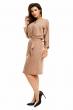Стилна ежедневна рокля Osley в цвят мляко с какао