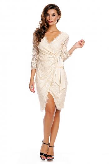 Изключителна дантелена рокля Mayadii в цвят ванилия