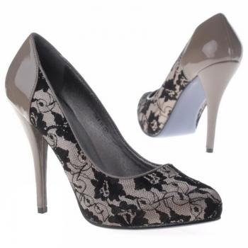 Лачени обувки каки с черна дантелаЛачени обувки каки с черна дантела