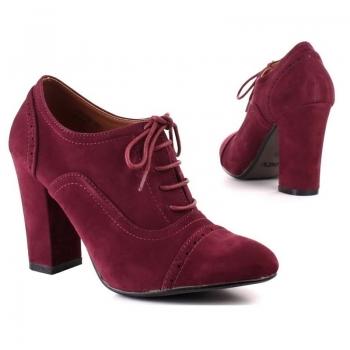 Ежедневни обувки с връзки цвят вино