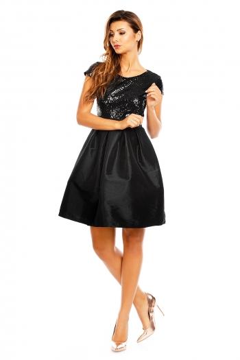 Празнична рокля Mayaadi с декорация от пайети в черно
