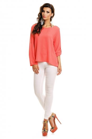 Асиметрична блуза в цвят сьомга