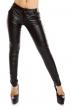 Черен дамски панталон Giorgia с ефект кожа
