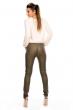 Петролнозелен дамски кожен панталон LUIZACCO