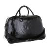 Импрегнирана черна лачена дамска кожена чанта