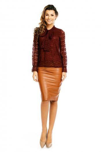 Дантелена блуза с панделка Jöwell в бордо