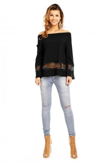 Нежна блуза с паднали рамене и мрежеста част Jolio Co в черно