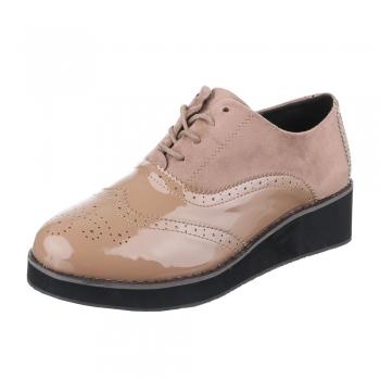 Ежедневни обувки комбинация от лак и набук в цвят каки