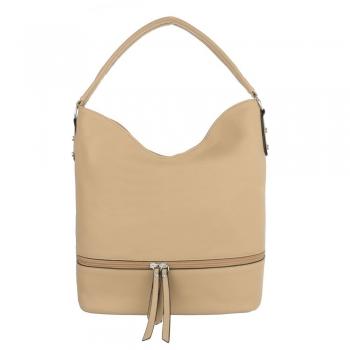 Ежедневна чанта с декоративен цип в цвят беже