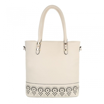 Стилна чанта с декорация в цвят беже