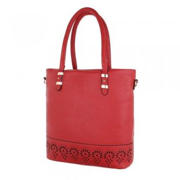 Стилна чанта с декорация в червено