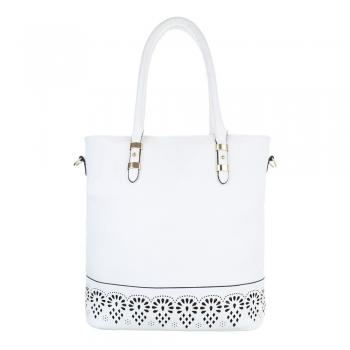 Стилна чанта с декорация в бяло