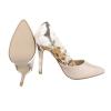 Стилни лачени обувки на висок ток с флорална задна част в цвят беже