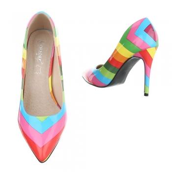 Многоцветни обувки на висок ток - ярки цветове