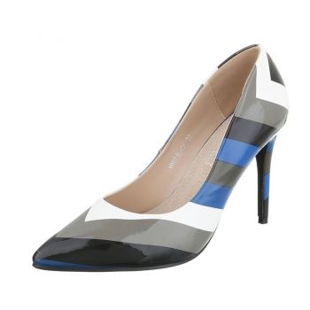 Многоцветни обувки на висок ток