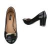 Ежедневни лачени обувки с нисък ток и златиста катарама