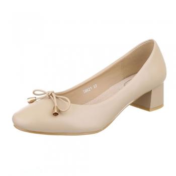Ежедневни обувки с нисък ток в цвят беже