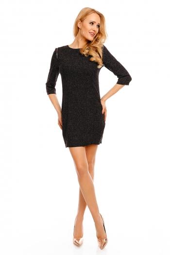 Ежедневна рокля Art Stylist с декоративни ципове в черно