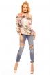 Флорална блуза V&H Moda с беже основа