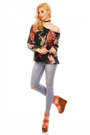 Флорална блуза V&H Moda с черна основа
