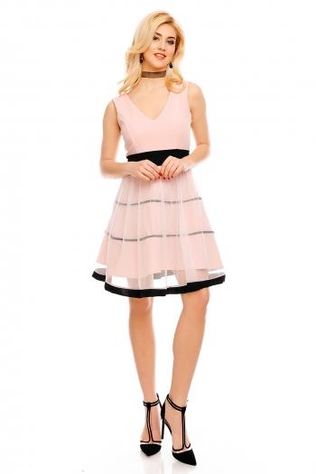 Рокля с обемна пола Blu Royal в бледо розово