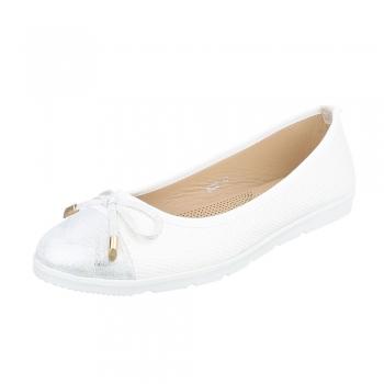 Дамски балеринки Coura в блестящо бяло