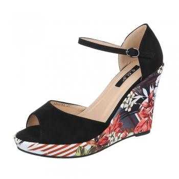 Сандали с флорална платформа S.D.S в черен цвят