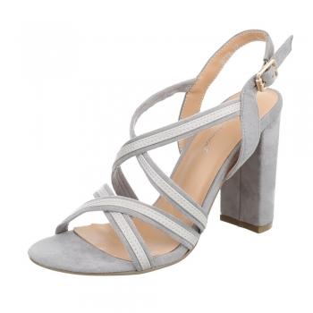 Стилни сандали с кръстосани каишки Belle Woman в светло сив цвят