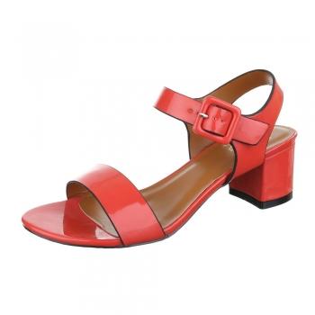 Ежедневни сандали с нисък ток MERMAID в червено
